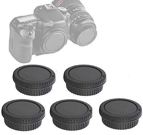(5 Packs) Fotasy Rear Lens Cover Camera Body Cap for Canon EOS EF DSLR Camera Lens, Canon EF Efs Mount Lense Rear Cap Body Cap, Canon Body Sensor Dust Cap Cover, EF Lens Rear Cap (CEF_5)