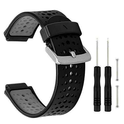 Banda de reloj Forerunner 235, correa de reloj de goma de silicona color doble TRUMiRR pulsera de correa deportiva para Garmin Forerunner 235/220/230/620/630 / 735XT, enfoque Smart Watch S20 / S5 / S6