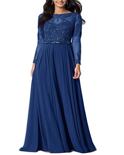 Roiii Elegante Frauen Chiffon Spitze Crochect Abend CocktailKleid Party Hochzeit Maxikleid LongKleid (Blau, 50 (XXXL))