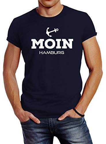 Neverless Herren T-Shirt Moin Hamburg Anker Slim Fit Navy L