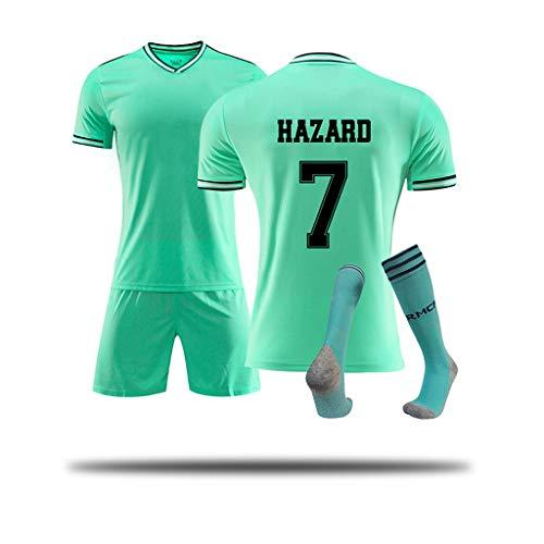 DGSFES Real Madrid # 7 Hazard Sportanzug Fußball T-Shirt Trikot und Shorts Fußball Trikot Junge # Fußball Sportbekleidung Für Fußballfans-Erwachsene Socken Kinder Jugendgröße-2-XL