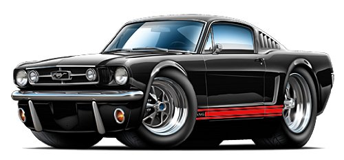 GF 1965 Mustang GT Fastback Wall Decal 2ft Long Car Sport Classic Graphic Sticker Man Cave Garage Boys Room Decor