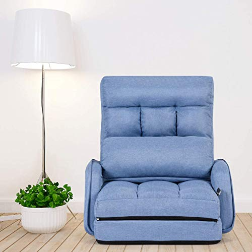 COSTWAY Adjustable Folding Lazy Sofa Bed with Armrests and Pillow, Convertible Floor Armchair Sofa Seat for Home Office, Easy-to-Clean (Blue)