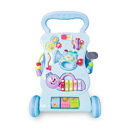 Toy Roll Push et Pull Early Child Education Multifonctionnel Anti-renversement Musique Walker Bébé Bébé 0-2 Ans Toddler Cart Enfant en bas âge éducatif ( Couleur : Bleu , Taille : 47*44*34CM )