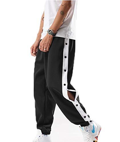 kewing Botones Laterales Pantalones de Entrenamiento de Baloncesto Pantalones Deportivos Sueltos para Hombre Ocasionales