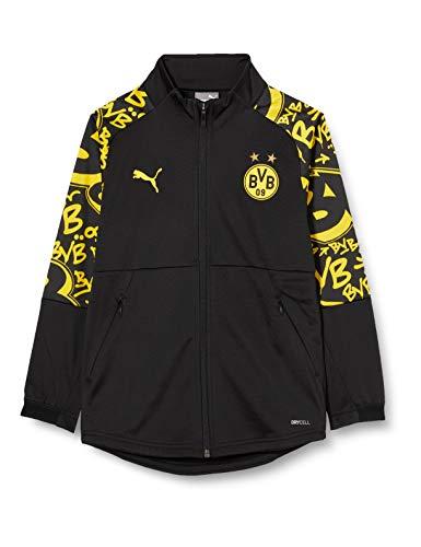 PUMA BVB Stadium Jacket Jr Trainingsjacke, Black-Cyber Yellow-Away, 140
