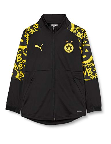 PUMA BVB Stadium Jacket Jr Trainingsjacke, Black-Cyber Yellow-Away, 152
