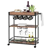 BTM Industrial Vintage Style Wood Metal 3 Tiers Kitchen Serving Trolley with Wine Rack, Storage Trolley, Storage Cart with Lockable Wheels for Home, Kitchen