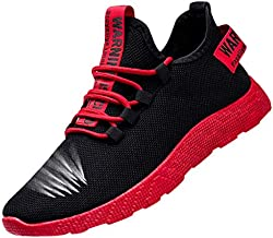 Men's Flying Weaving Casual Walking Running Outdoor Shoes Breathable Tourist Athletic Sports Sneakers (39, Red)