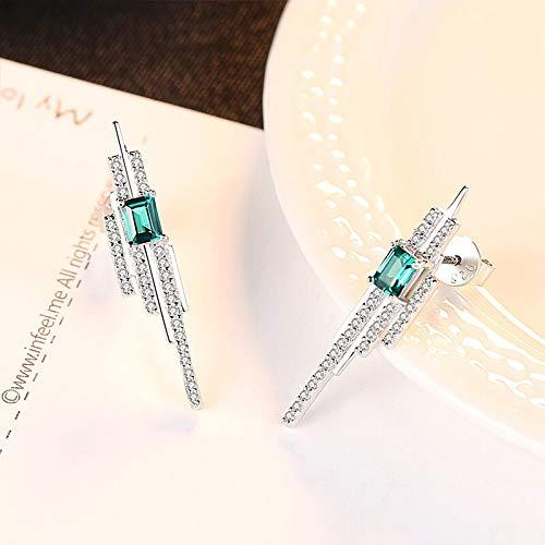 925 encantos de plata esterlina cuadrada esmeralda azul-verde piedra preciosa con pequeños pendientes para mujer joyería fina fiesta