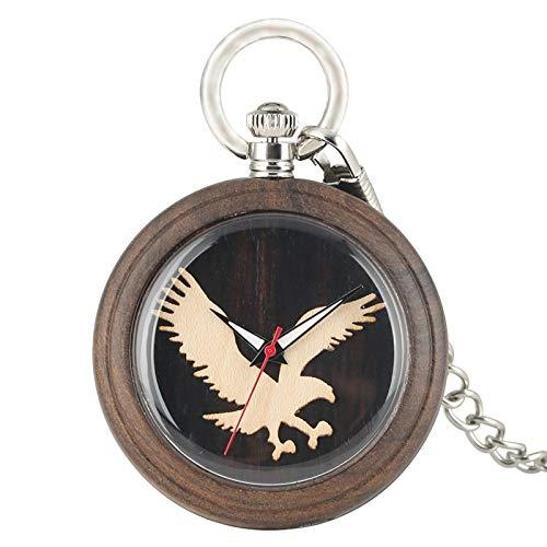 XVCHQIN Reloj de Bolsillo de Cuarzo con Pantalla de águila voladora 3D de Madera Natural, Reloj para Hombre, Cadena de Vestir, joyería, Relojes Ligeros, Negro Retro