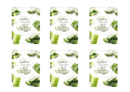 Gesichtsmaske 6 Stück Aloe Vera aus natürlichem Pflanzenextrakt | 6 Facial Masks Anti-Aging Anti-Falten Feuchtigkeits-Gesichtsmaske | Liyalan by Secret Essentials