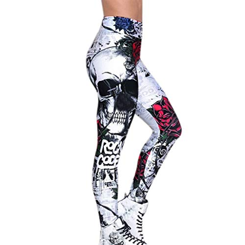 LIUYB Push Up Frauen-Gamaschen-Schädel-Druck dünne dünne hohe Taillen-Yo-ga Hosen Joggng Damen Workout Fitness Legging Jogginghose (Farbe : C, Größe : XXXL)