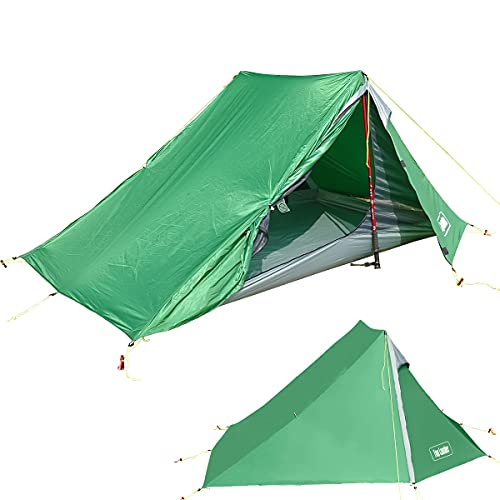 Top Lander 1-2 Person Poleless Ultralight Backpacking Tent for Outdoor Hiking Camping Mountaineering Travel Waterproof Lightweight Solo Bivvy(Green (2 Person))