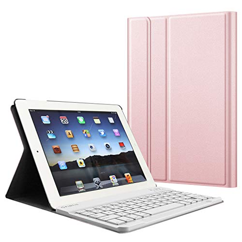 Fintie Keyboard Case for iPad 4th Generation with Retina Display, iPad 3 & iPad 2 (Old Model), Slim Lightweight Stand Cover with Magnetically Detachable Wireless Bluetooth Keyboard - Rose Gold