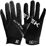 Kids EliteTek RG-14 Super Tight Fitting Football Gloves - Youth Sizes - Easy Slip On Design No Wrist Strap (Black, Youth XS)