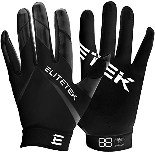 Men's Football Gloves - EliteTek RG-14 Super Tight Fitting Football Gloves - Easy Slip On Design No Wrist Strap for Men(Red, Adult XL)