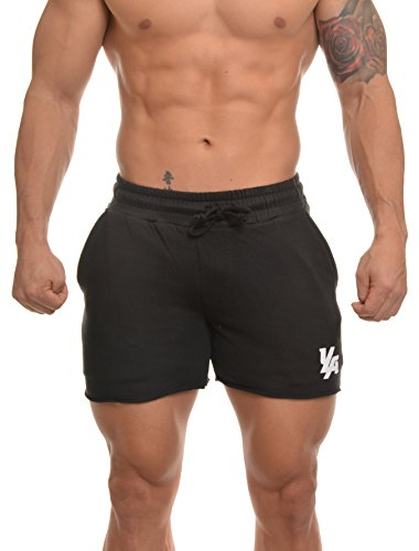 YoungLA Men's Bodybuilding Gym Workout Shorts 102 Black XL