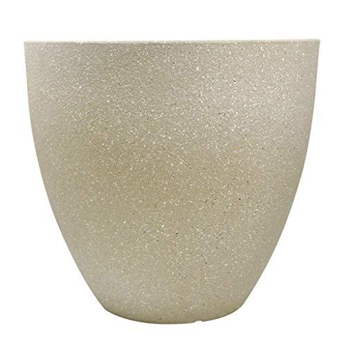NJ Bloempotten - grote diameter imitatie steen ronde grote bloempot, binnen en buiten imitatie keramische plastic bloempot