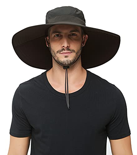 Super Wide Brim Sun Hat-UPF 50+ Protection,Waterproof Bucket Hat for Fishing, Hiking, Camping, Boating,Breathable Nylon & Mesh (Dark Grey)
