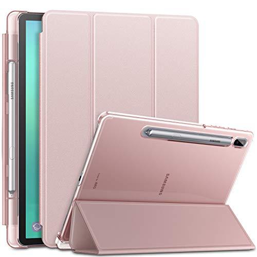 INFILAND Hülle für Samsung Galaxy Tab S6 2019, Superleicht Transluzent Schutzhülle mit Pencil Halter für Samsung Galaxy Tab S6 10.5 Zoll (SM-T860/T865) 2019, Auto Schlaf/Wach,Rosa Goldene