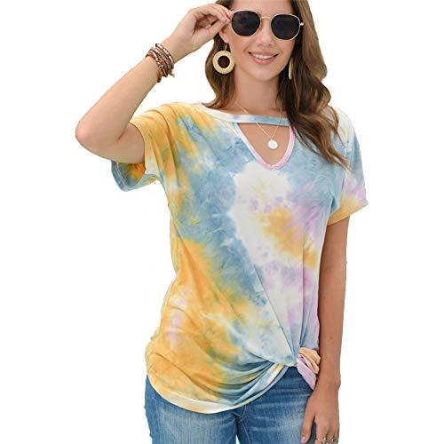 Genmoral Camisetas para mujer Tie Dye Camiseta de manga corta para salón...