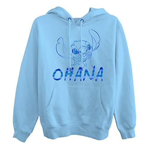 Ladies Lilo and Stitch Sweatshirt - Ladies Classic Lilo and Stitch Hoodie (Blue, X-Large)