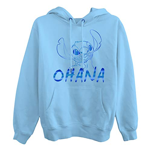 Ladies Lilo and Stitch Sweatshirt - Ladies Classic Lilo and Stitch Hoodie (Blue, Medium)