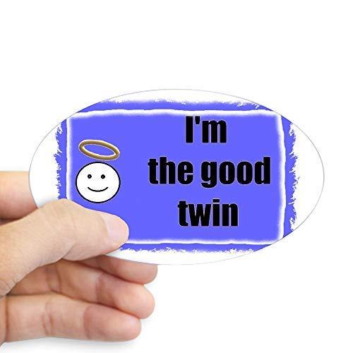 Ik ben de goede Twin (blauwe achtergrond) Ovale Sticker Stickers Grappige Bumper Stickers voor Auto's Leuke Vinyl Sticker Stickers voor Laptop Windows Van Truck Nieuwigheid Kerstcadeaus