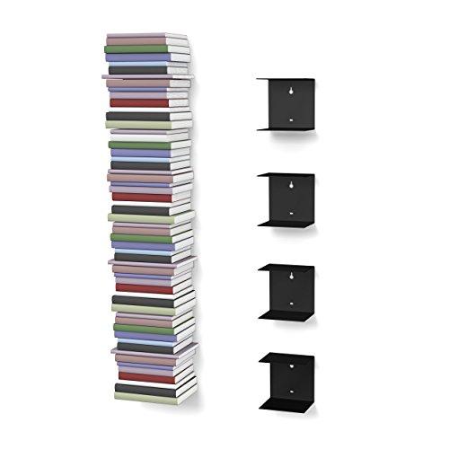 home3000 Unsichtbares Bücherregal mit 8 Fächern in schwarz bis zu 200 cm hohen Bücherstapel für Bücher bis zu 22 cm Tiefe