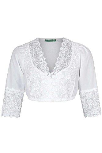 Country-Line Damen weiße Spitzen Dirndl-Bluse mit 3/4 Arm, Weiß, 38