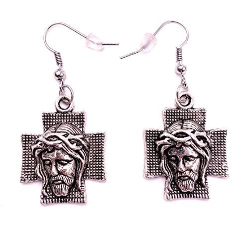 H-Customs Jesus Christentum Kreuz Ohrringe Ohrschmuck Anhänger Silber Metall