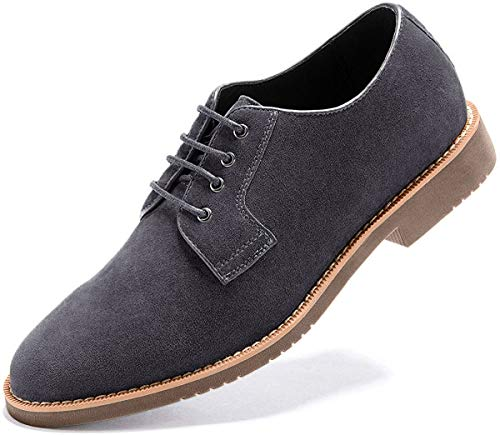Light Grey Casual Leather Brogue Oxford Shoes for Men