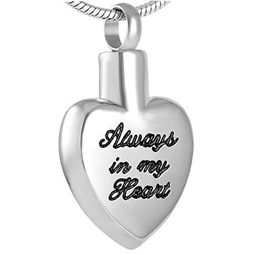 KBFDWEC Joyas de cremación de Palabras de Amor en Collares Pendientes Soporte de Ceniza de Acero Inoxidable para Encanto Femenino