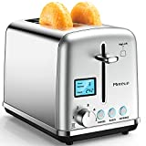 Toaster 2 Slice - Smart Stainless Steel Toaster, LCD Screen Digital Two Slice Toaster, Extra Wide Slot Retro Bread Toaster with Bagel Defrost Reheat Cancel Function, 6 Shade Settings, 900W