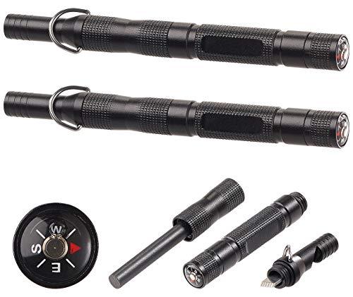 PEARL Anzünder: 2er-Set 3in1-Feuerstarter, Notfall-Pfeife & Kompass, Aluminium-Gehäuse (Feuerstarter-Zündstein)