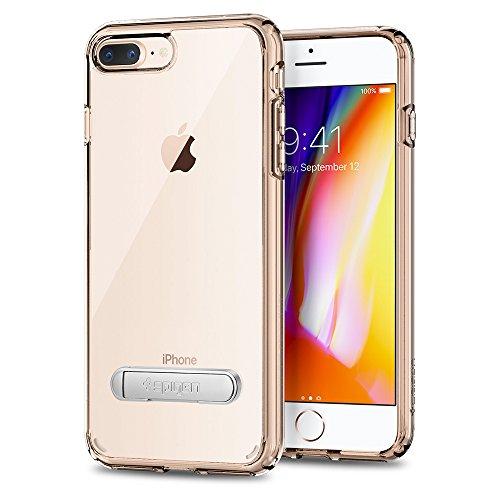 Spigen - Funda iPhone 7 Plus, [Ultra Hybrid s] Metal Kickstand [Crystal Clear] Clear Back Panel + TPU Bumper Carcasas y Fundas iPhone 7 Plus - (043cs20754)