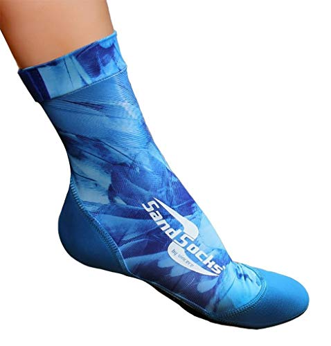 Sand Socks Vincere for Snorkeling, Beach Soccer, Sand Volleyball (Large, Blue Feathers)