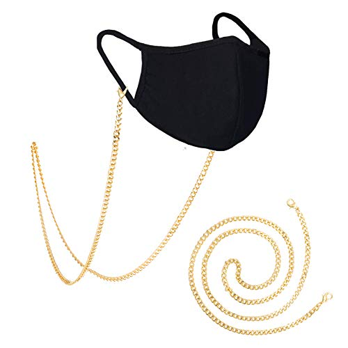 2 Pcs Face Mask Holder Chain Necklace Weight Light Face Mask Chain | Mask Strap | Mask Holder | Mask Lanyard | Mask Retainer | Necklace For Mask | Gold Clip Link Mask Chain For Women Men (gold 2)