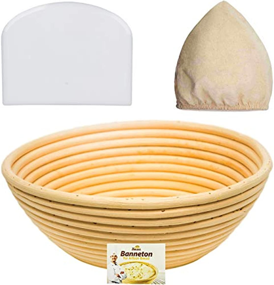 9 Inch Bread Banneton Proofing Basket - Baking Bowl Dough Gifts for Bakers Proving Baskets for Sourdough Lame Bread Slashing Scraper Tool Starter Jar Proofing Box