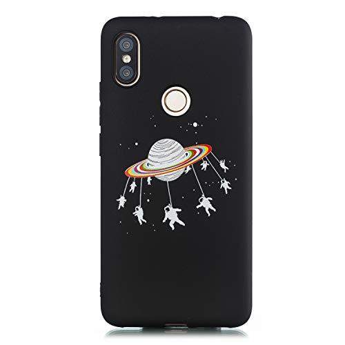 Huphant Kompatibel mit Xiaomi Redmi S2 Hülle, Stoßstange Gemaltes Non-slip Anti-gelb Ultradünn Silikon Handyhülle für Xiaomi Redmi S2 Case Silikon -Raumschiff