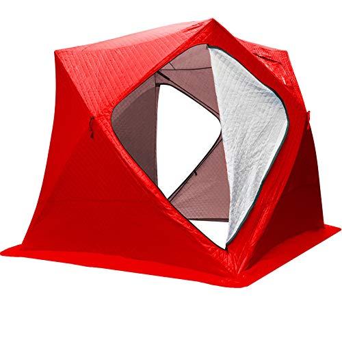 VEVOR Refugios de Pesca en Hielo Tienda de Pesca de Invierno Tienda de Refugio Portátil Impermeable Carpa Tienda de Pesca de Hielo para 3 Personas Color Rojo