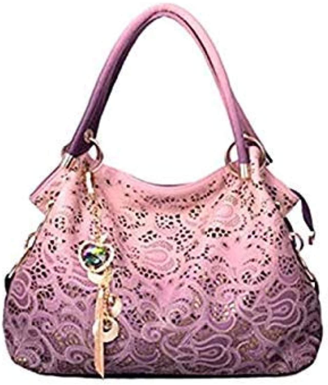 Women Handbag Leather Hollow Out Bags color Gradient Tassel Bag Ladies Portable Shoulder Bag Pink