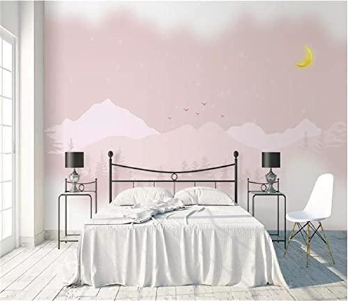 BLZQA 3D Papel tapiz Fotográfico Luna de montaña rosa Mural Salón Dormitorio Despacho Pasillo Decoración murales decoración de paredes moderna 300x200 cm-6 panelen