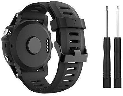 Supore Fenix 3 Correa de Reloj, Reemplazo Respirable Suave del Silicón Pulsera Hermosa Deporte y edición para Fenix 3/Fenix 3 HR/Fenix 5X /Fenix 6X Smartwatches (Negro(it))