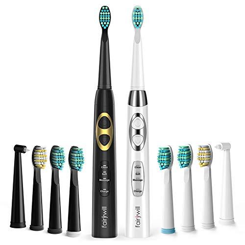 Fairywill Lot de 2 brosses à dents électriques 2 brosses à dents soniques 3 programmes de nettoyage 10 brossettes de nettoyage 4 heures Charge USB maximum 30 jours, IPX7 étanche