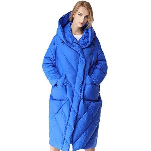Biddtle Damen Winter Daunenmantel Lang Mantel Dicker Mit Kapuze Jacke Mantel Parka Warm Reißverschluss Steppmantel Wintermantel,Blau,M
