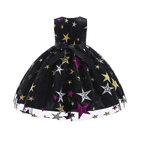 IZHH Kinder Kleider, Mädchen Sterne Gestickte Prinzessin Kleid Stern Print Spitzenkleid Kinder Mädchen Prinzessin Kostüme Party Tutu Bogen Kleider(Schwarz,150)
