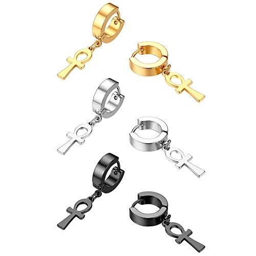 Dangle Hoop Earrings, Flongo Men's Womens Ankh Cross Dangling Hinged Stud Piercing Huggie Hoop Earrings for Mens Christmas Wedding Valentine's Day