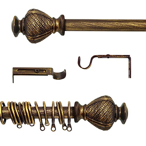 AT17 Gardinenstange Ausziehbar, Vorhangstange Gardinenstange Variable Länge Landhaus Shabby Chic - Vintage - 120-210 - Durchmesser 2 cm - Braun/Gold - Metall